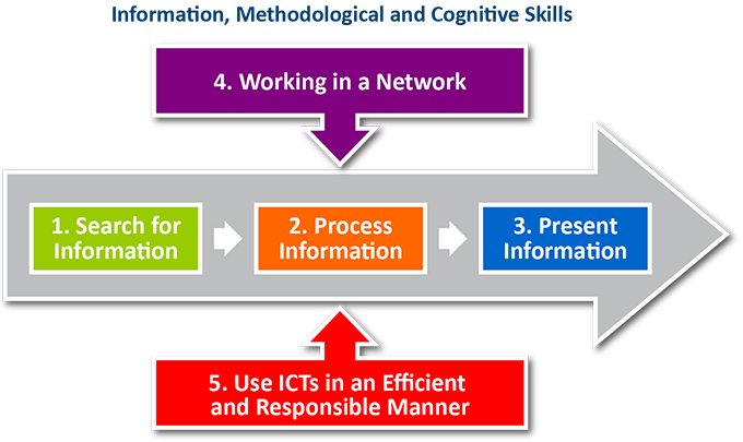 The ICT Profile Information, methodological and cognitive skills: 1 Search for information, 2 Process information, 3 Present information, 4 Working in a Network and 5 Use ICTs in an efficient and responsible manner