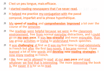 Student Comments about Extensive Reading