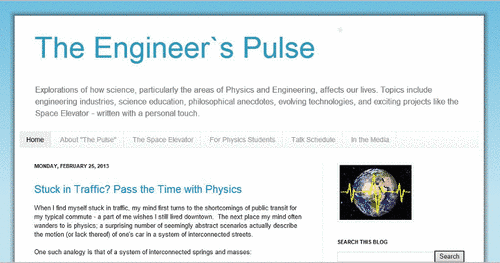 Capture d'écran de la page d'accueil du site web The Engineer's Pulse
