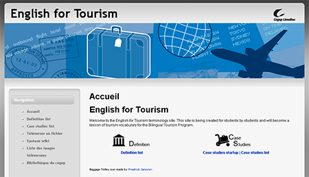 Page d'accueil du site wiki du cours English for Tourism