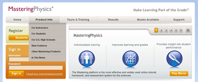 Screenshot of Mastering Physics' website