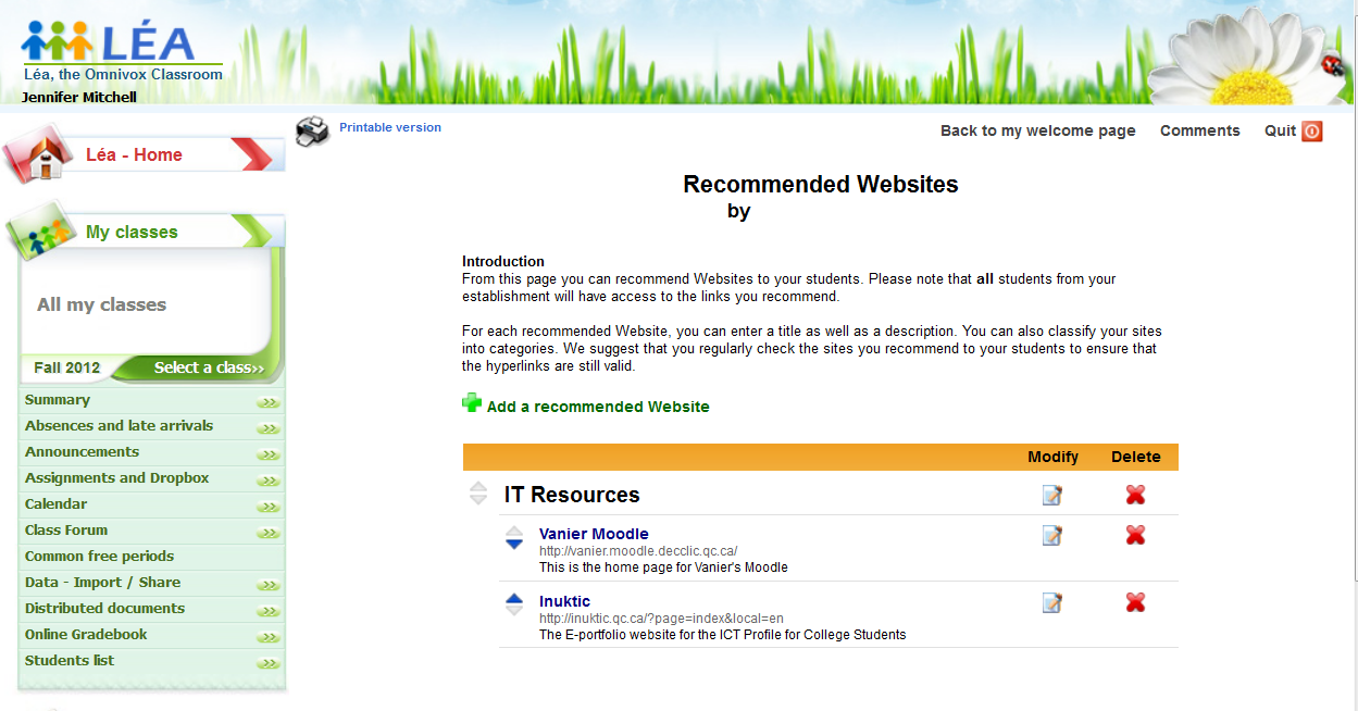 LÉA's Recommended Website function – Teacher display