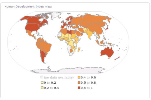 Dynamic living map of the Human Development Index