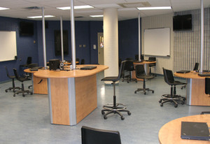 The teacher's station in the Active Learning classroom at Champlain College's Saint-Lambert Campus