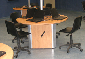 Some Workstations Can Adjust to Accommodate Handicapped Students