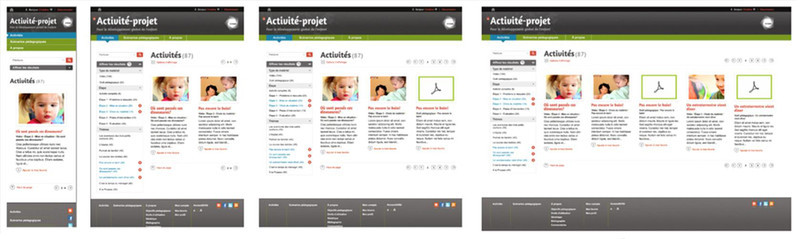 4 pixel formats for the site Activité-projet (iPhone-320, iPad-420, Laptop-1024, Full Screen-2200)