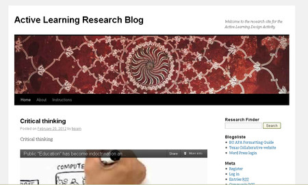 Active Learning Research Blog on Profweb's Web Space