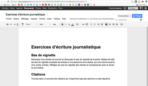 Interface d'édition de Google Documents
