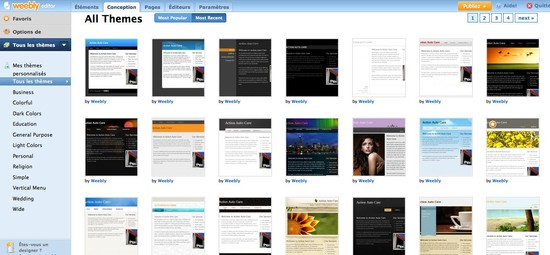 There are more than a hundred graphic themes available on Weebly