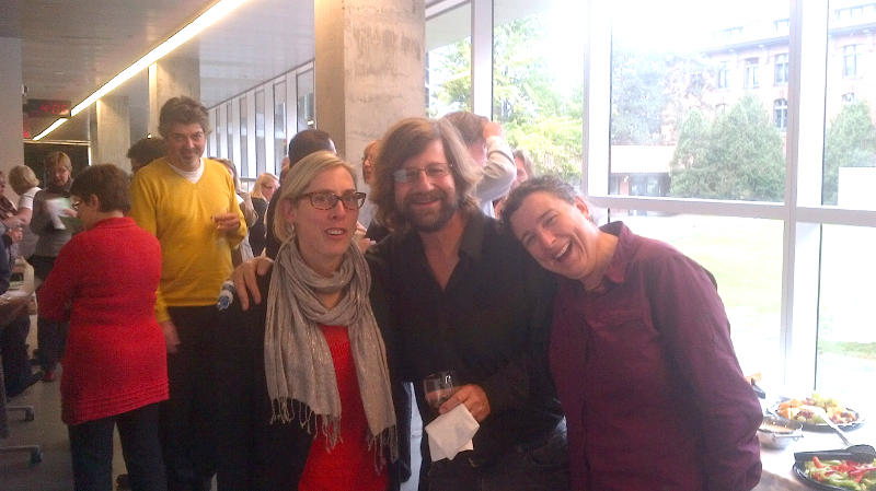 Susan Ajersch with Murray Bronet, Chemistry faculty of Abbott and Isabelle Laplante of the CDC with Christophe Reverd of VTÉ in yellow sweater