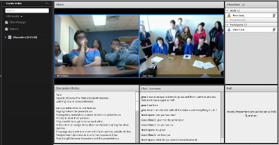 The interface during a meeting. This image is from the final evaluation meeting where groups were larger than usual. Faces have been blurred to protect confidentiality