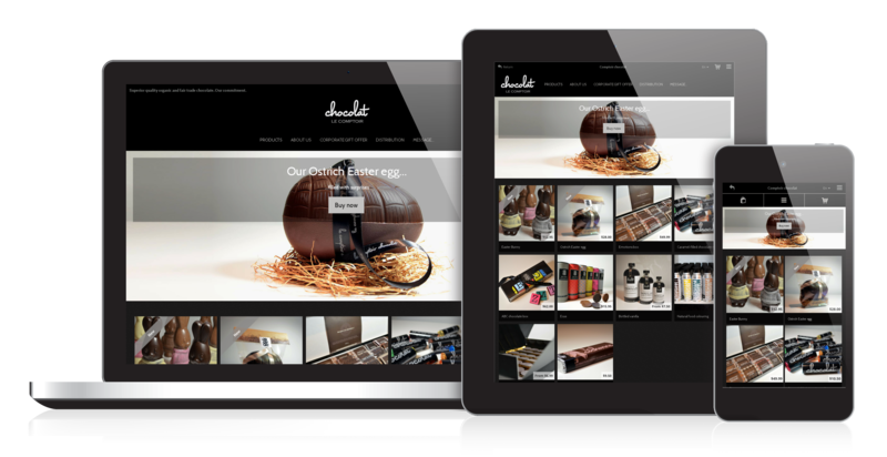 The appearance of an online store created using Liki Lab adapts to the viewer's screen size