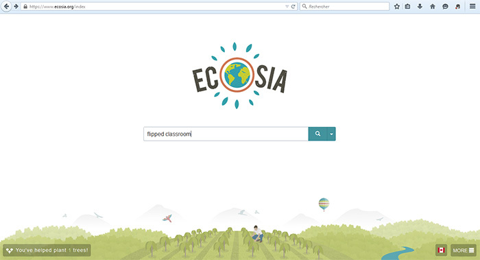 Home page of the Ecosia search engine