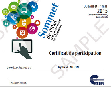 A certificate of participation was sent to attendees after the iPad Summit
