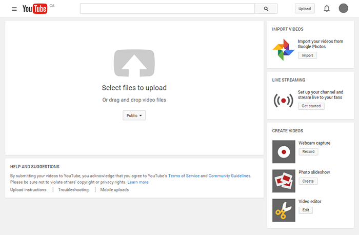 Screen capture of Youtube upload interface