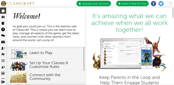 Screenshot of the teacher homescreen, presenting available tools.