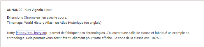 Exemple d'annonce dans Google Classroom faite à partir de l'extension Hstry.