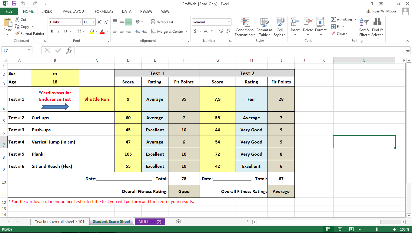 Excel sheet with results from 6 physical tests