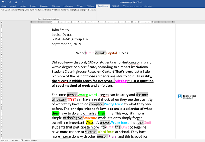 View of a written assignment. She simply highlights the error in the document and clicks on the type of error from the list of Add-ins available in her Word menu.