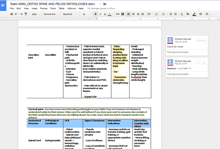 A Google Document with students' comments on the side.