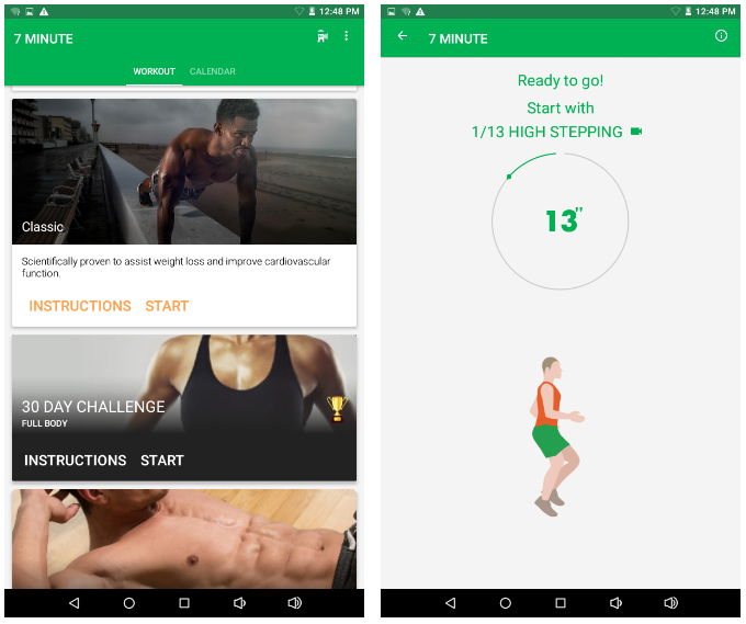 Two views of the app: exercices liste and upcoming exercice in 7 minutes.