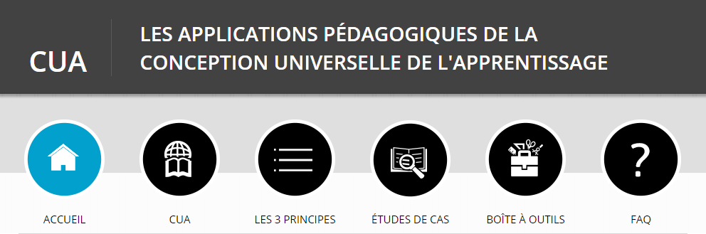Entête du site web. Slogan : Les applications pédagogiques de la conception universelle de l'apprentissage. Navigation : Accueil, CUA, Les 3 principes, Études de cas, Boîte à outils et FAQ