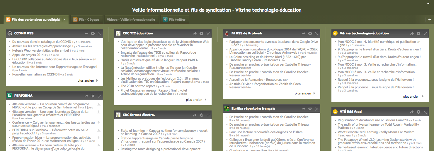 The Netvibes page where the Vitrine technologie-éducation team has compiled all feeds from ICT partners in the college network.