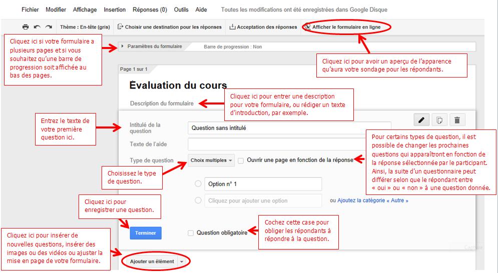 Un aperçu de la page de rédaction d'un formulaire Google