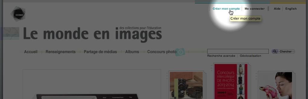 Lien pour la création d'un compte dans Le monde en images