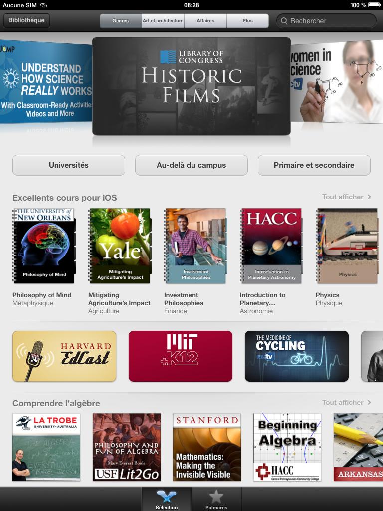 L'interface d'accueil d'iTunes U sur iPad