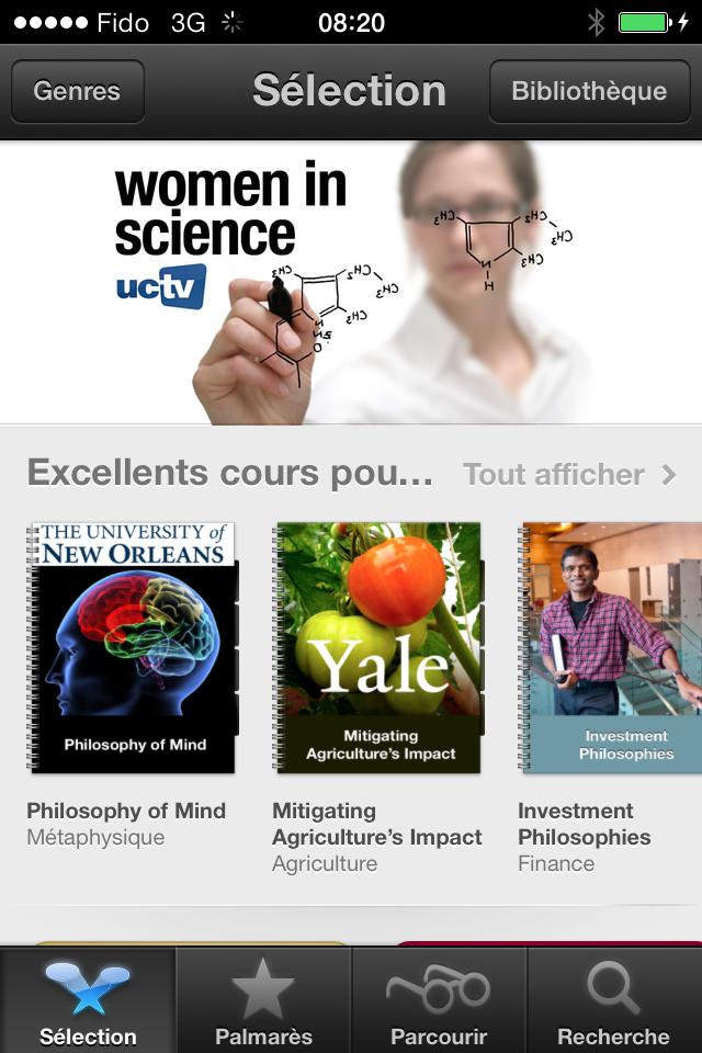L'interface d'accueil d'iTunes U sur iPhone ou iPod Touch