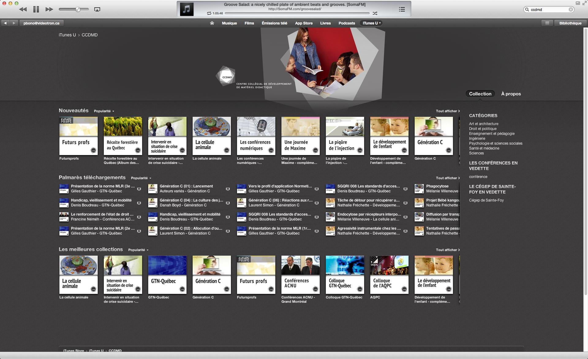 La page iTunes U du CCDMD